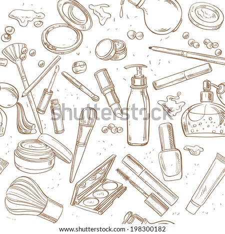Seamless pattern from doodles of cosmetic cream, lipstick, powder, eye shadow... - stock vector