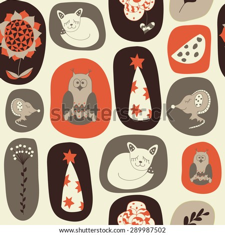 Seamless pattern from hand-drawn children's pictures. Baby illustration. Scrapbooking. It can be used as a wrapping paper, wallpaper in baby room, kids invitation, background. - stock vector