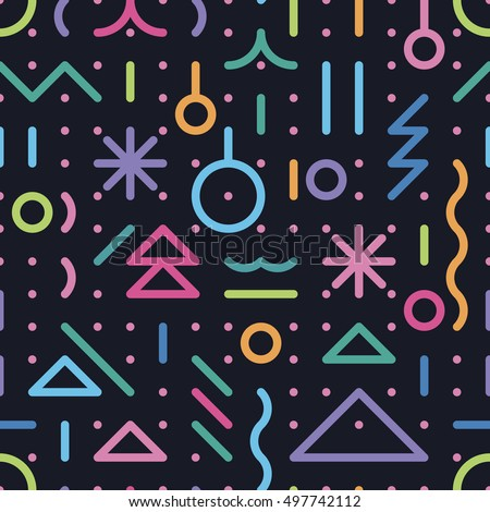 seamless pattern from New Year's symbols against a dark background