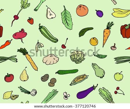 Seamless pattern Fruits and vegetables Sketch set. Vector illustration, EPS 10 - stock vector