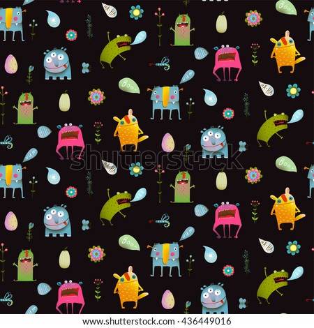 Seamless pattern Fun Cute Cartoon Monsters for Kids Design background. Vivid fabulous incredible creatures design isolated on black. - stock vector