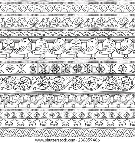 Seamless Pattern Geometric Floral Ethnic Birds Black&White - stock vector
