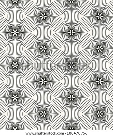 Seamless pattern. Geometric stylish background. Vector repeating texture. Stylized flowers - stock vector