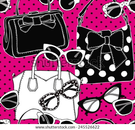 Seamless Pattern Glasses & Bags Pink Black & White - stock vector