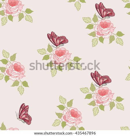 Seamless pattern. Graphic design Template for retro background with flowers and butterflies .