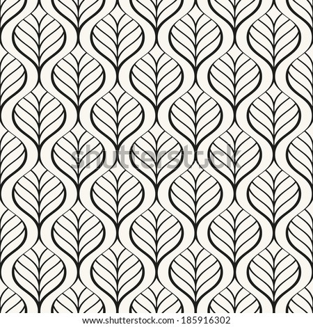 Seamless pattern. Graphic ornament. Floral stylish background. Vector repeating texture with stylized leaves - stock vector
