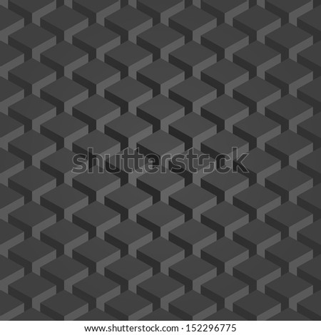 Seamless pattern gray background. Dark surface with 3-D effect cubes in perspective. Old retro wallpaper with repetition geometric shape. Vector illustration clip-art web design elements save in 8 eps