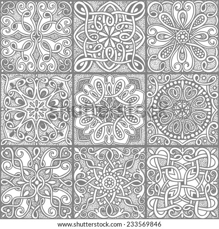 Seamless pattern gray mosaic in vintage style, hand-drawn illustration. - stock vector