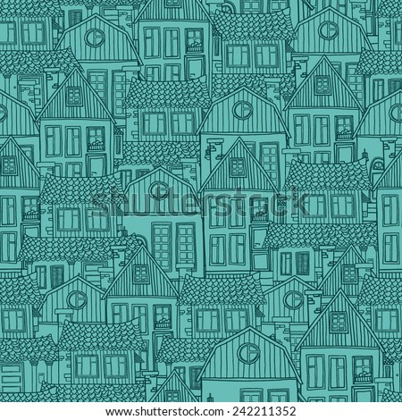Seamless pattern green background with of hand-drawn houses. Vector - stock vector