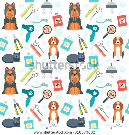 Seamless pattern. Grooming for animals. Pet care. Flat design. Vector illustration - stock vector