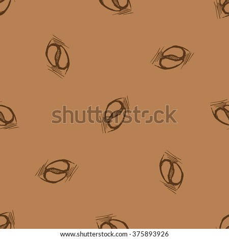 Seamless pattern hand drawn coffee beans on brown background. Vector stock illustration