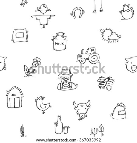Seamless pattern Hand drawn Farm icon set