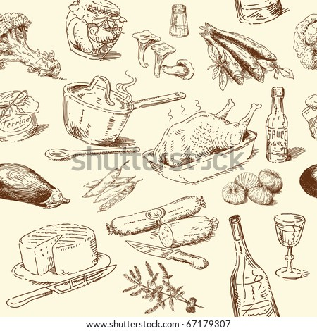 stock vector seamless pattern hand drawn food 67179307 - Каталог — Фотообои «Еда, фрукты, для кухни»