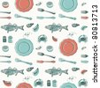 seamless pattern-hand drawn sea food - stock vector
