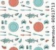 seamless pattern-hand drawn sea food - stock vector