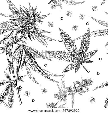 Seamless pattern, hemp, marijuana, black and white - stock vector