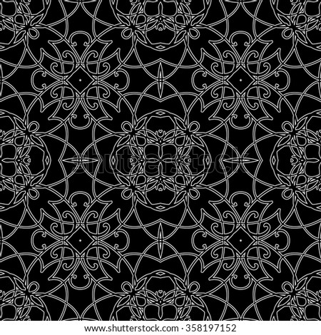 Seamless pattern in arabic style. Intersecting curved elegant lines and scrolls forming abstract floral ornament. Arabesque. - stock vector
