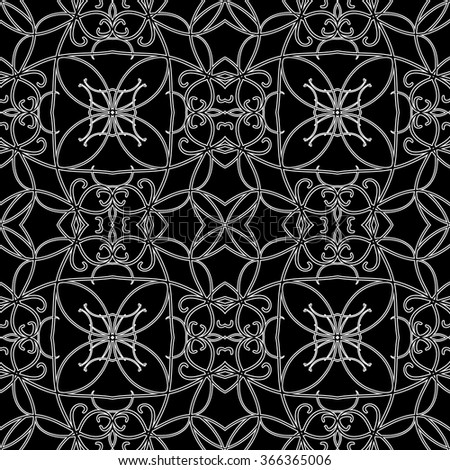 Seamless pattern in arabic style. Intersecting curved elegant lines and scrolls forming abstract floral ornament. Arabesque - stock vector