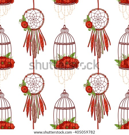 Seamless pattern in boho style: dream cathers, poppies in cages. Hand drawn elements. Ethnic boho pattern for textile, packaging, greeting cards, invitations, wedding decorations. Bohemian collection. - stock vector