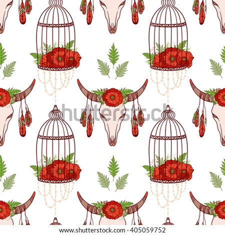 Seamless pattern in boho style: skull cow, poppies in cages. Hand drawn elements. Ethnic boho pattern for textile, packaging, greeting cards, invitations, wedding decorations. Bohemian collection. - stock vector