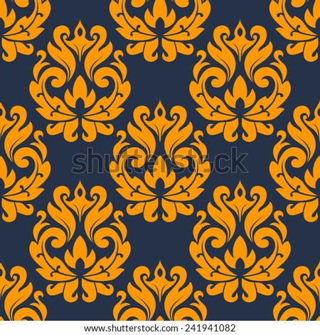 Seamless pattern in damask style of yellow flowers on dark background for fabric and textile design - stock vector