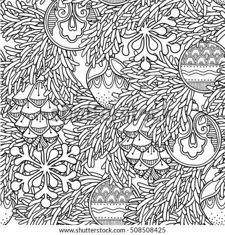 Seamless Pattern In Doodle Style Floral Ornate Decorative Tribal Christmas Decor