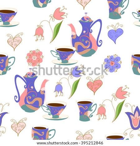 Seamless pattern in Doodle style with  teapot cups, flowers and hearts. The coffee pot, cups with a coffee, flowers and hearts. - stock vector