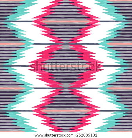 Seamless pattern in ethnic style. Antique American Navajo textile.  - stock vector