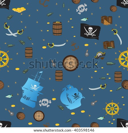 Seamless pattern in pirate style for children. Symbols of piracy - pirate hat, swords,  treasure chest, ship, black flag,  skull and crossbones, helm, rum barrel, gold coins, compass.  - stock vector