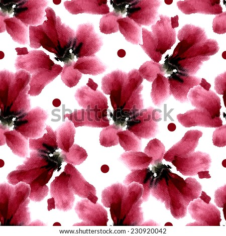 "Seamless pattern in retro style ""hibiscus flower"". Flowers and small circles on a white background. - stock vector"