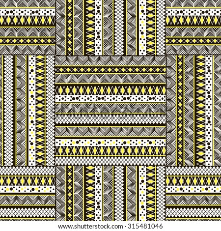 Seamless pattern in the form of geometries shapes, with stylized elements and geometric patterns. Print stained glass, tiles. Illustration vector.