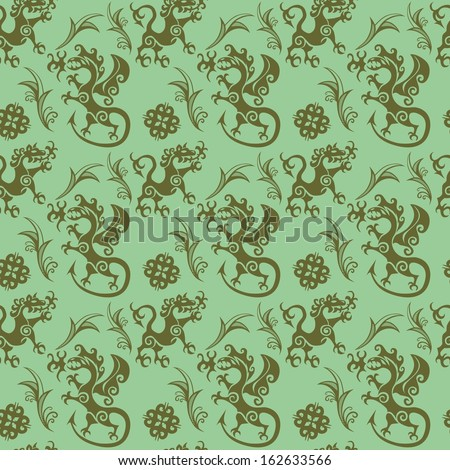 Seamless pattern in the style of early medieval with fighting beasts. - stock vector