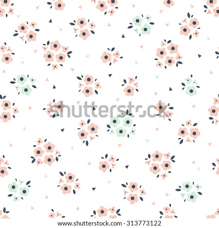 Seamless pattern in vintage style. Doodle flowers retro design. Can be used for wallpaper, pattern fills, web page background, surface textures. Vector - stock vector