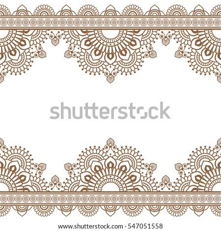 Seamless Pattern Indian Brown Henna Mehndi Stock Vector ...  Shutterstock Border Design Free Download