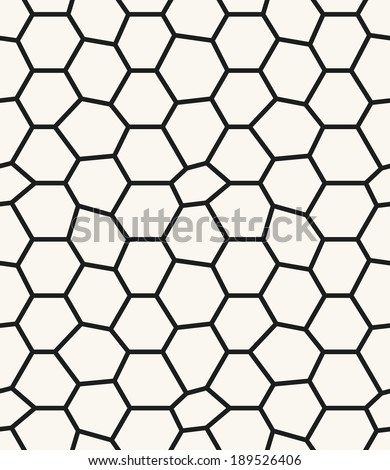 Seamless pattern. Irregular abstract grid background with round nodes. Reticulated vector texture - stock vector