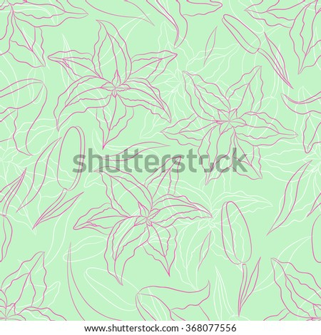 seamless pattern lilies on a  light green background