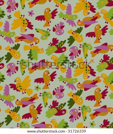 seamless pattern: little birds - stock vector