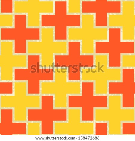 Seamless pattern made from color crosses - stock vector