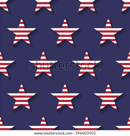 Seamless pattern made from five pointed stars - stock vector