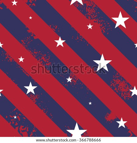 Seamless pattern made from grunge lines and five pointed stars - stock vector
