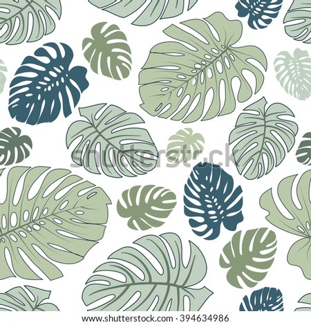 Seamless pattern made from the Monstera leaves - stock vector