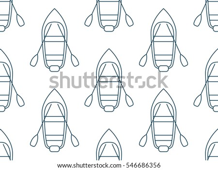 Seamless pattern made of cartoon boats top view