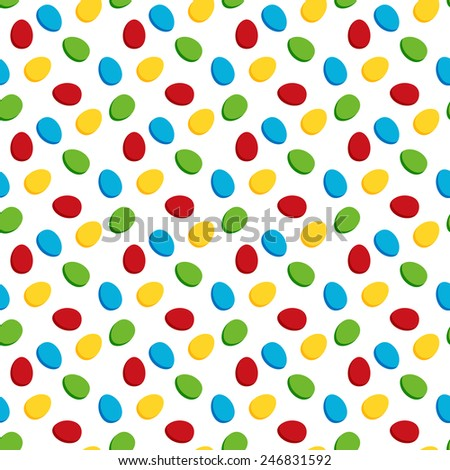 Seamless pattern made of colorful Easter eggs on white background - stock vector