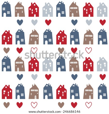 Seamless pattern.  Many blue, red and beige houses with hearts on white background - stock vector