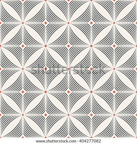 Seamless pattern. Modern stylish geometric texture. Regularly repeating tiles with arched rhombuses, diamonds, arcs. Vector element of graphic design - stock vector