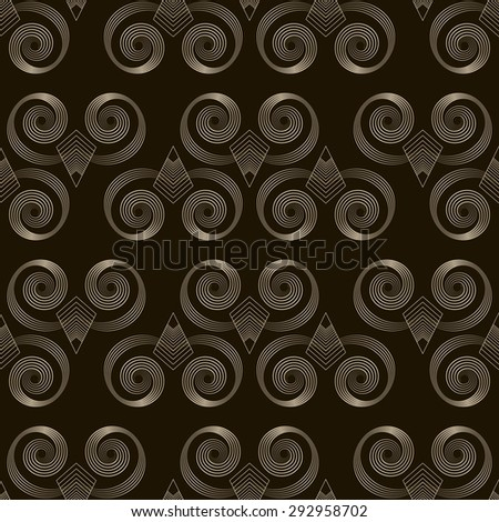 Seamless pattern monochrome art deco ornament with stylized geometric elements background. Repeating texture modern graphic design - stock vector