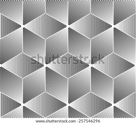 Seamless pattern. Monochrome texture of repeating geometric tiles. - stock vector
