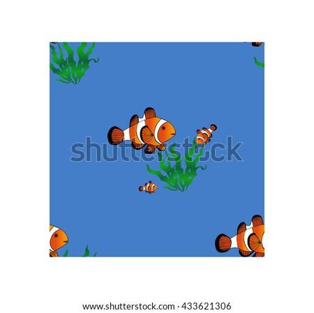 Seamless pattern. Natural background textures. Nautical design . Fish clown. - stock vector