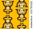 seamless pattern of a cute little monkey smiling - stock vector