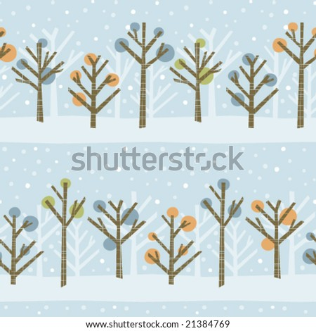 Seamless pattern of a cute winter forest. Colors can easily be changed in vector file. - stock vector